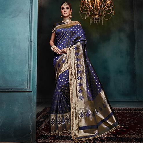 Majesty Blue Colored Festive Wear Woven Cotton Silk Jacquard Saree