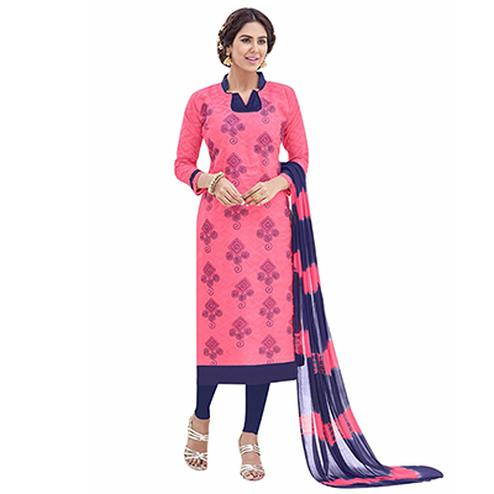 Beautiful Pink And Blue Lakda Jacquard Embroidered Dress Material