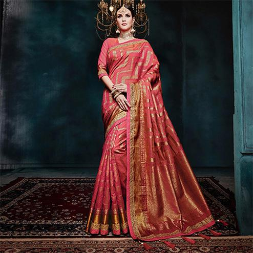 Preferable Pink Colored Festive Wear Woven Cotton Silk Jacquard Saree