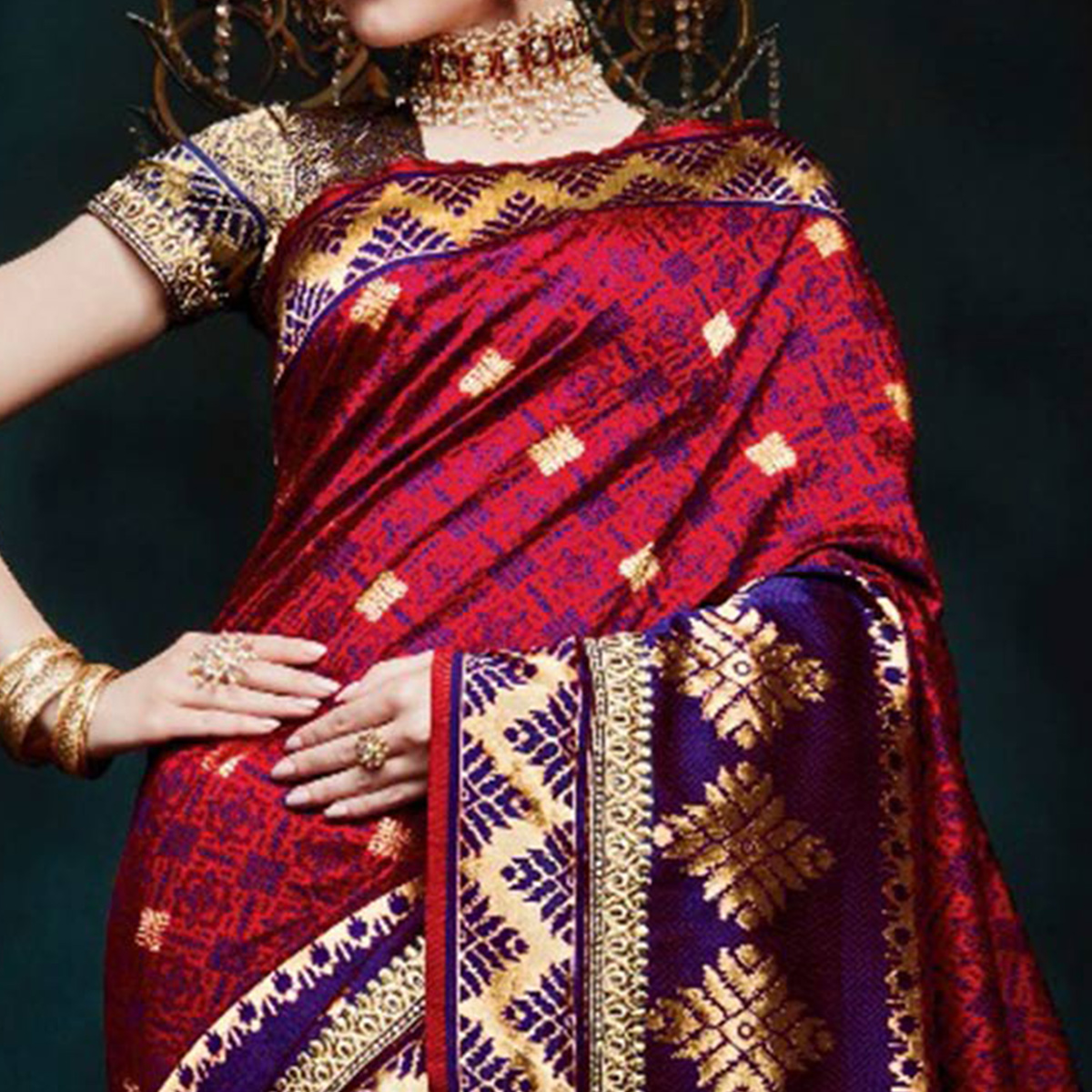Adorning Red Colored Festive Wear Woven Cotton Silk Jacquard Saree