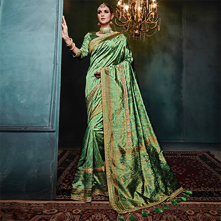 Prominent Green Colored Festive Wear Woven Cotton Silk Jacquard Saree