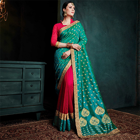 Deserving Rama Green - Red Colored Festive Wear Woven Cotton Silk Jacquard Saree