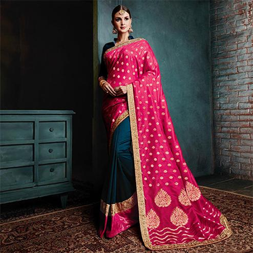 Extraordinary Navy Blue - Magenta Colored Festive Wear Woven Cotton Silk Jacquard Saree