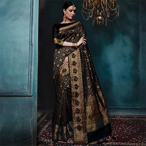 Energetic Black Colored Festive Wear Woven Cotton Silk Jacquard Saree