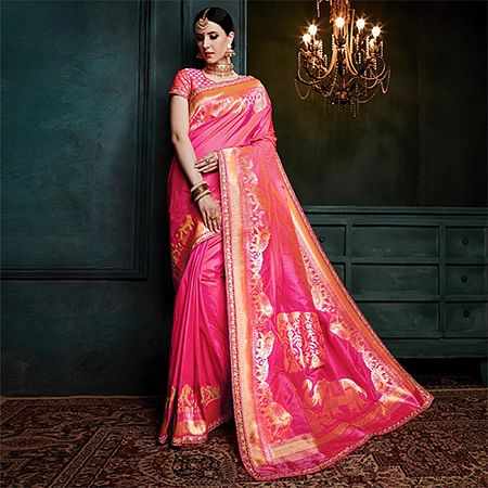 Glowing Pink Colored Festive Wear Woven Cotton Silk Jacquard Saree