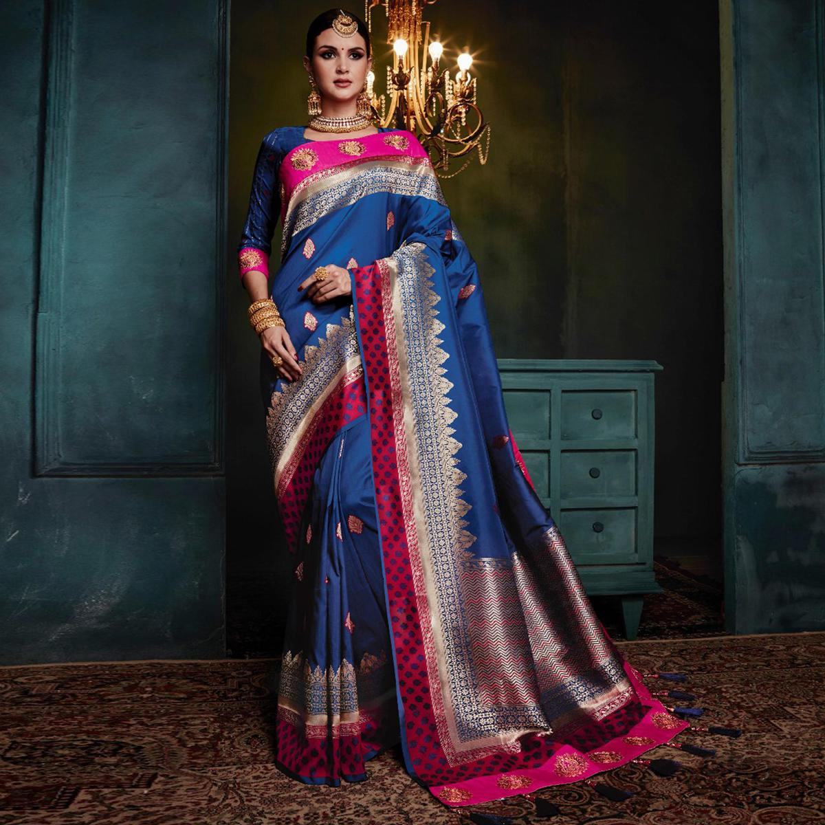 Awesome Royal Blue Colored Festive Wear Woven Cotton Silk Jacquard Saree