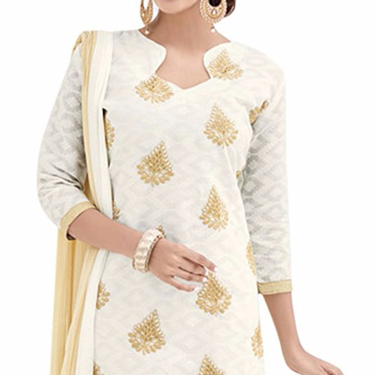Stylish Off White And Beige Lakda Jacquard Embroidered Dress Material