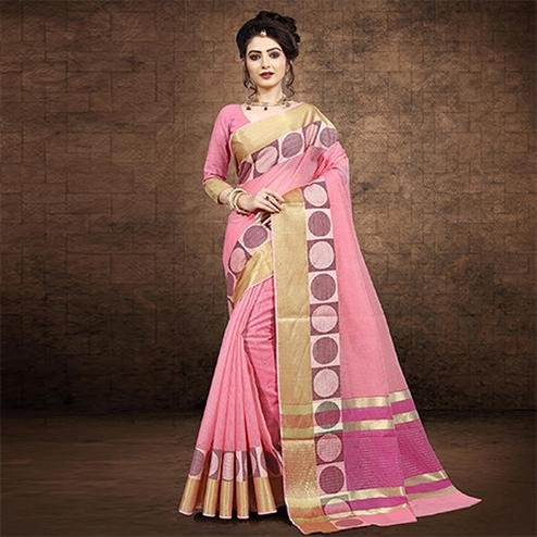 Ethnic Baby Pink Colored Festive Wear Chanderi Cotton Saree