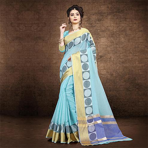 Glowing Sky Blue Colored Festive Wear Chanderi Cotton Saree