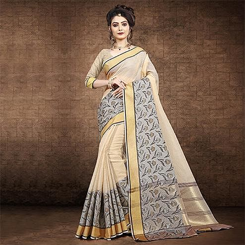 Precious Beige Colored Festive Wear Chanderi Cotton Saree