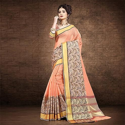 Majesty Peach Colored Festive Wear Chanderi Cotton Saree