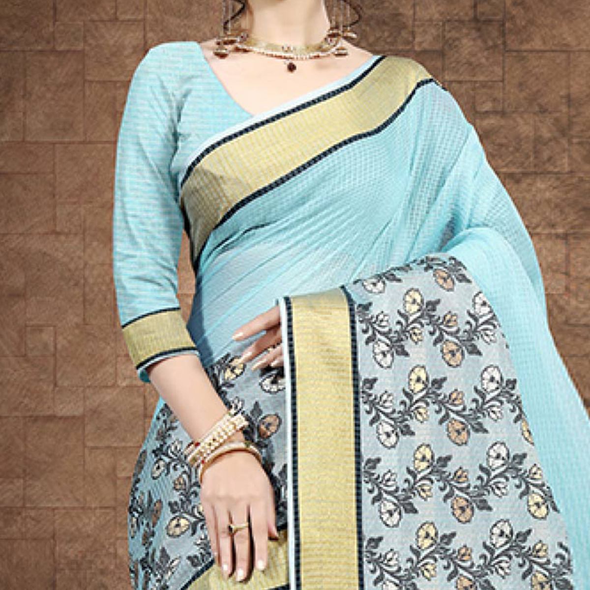 Innovative Sky Blue Colored Festive Wear Chanderi Cotton Saree