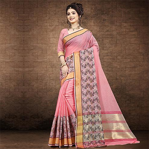 Ideal Soft Pink Colored Festive Wear Chanderi Cotton Saree