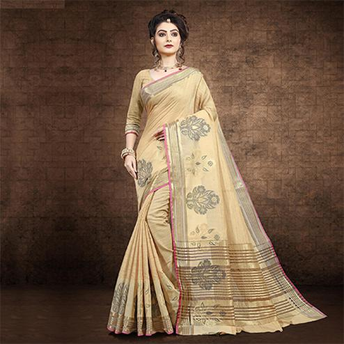 Alluring Beige Colored Festive Wear Chanderi Cotton Saree