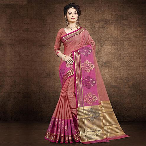 Elegant Red Colored Festive Wear Chanderi Cotton Saree