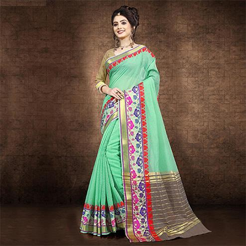Desirable Sea Green Colored Festive Wear Chanderi Cotton Saree
