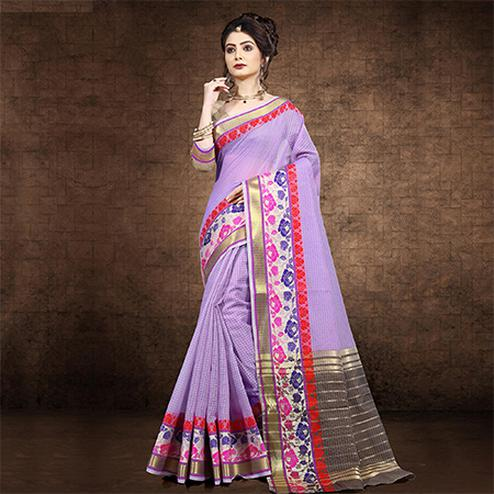 Pretty Lavender Colored Festive Wear Chanderi Cotton Saree
