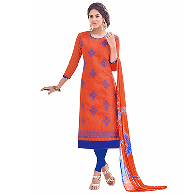 Graceful Orange And Blue Lakda Jacquard Embroidered Dress Material