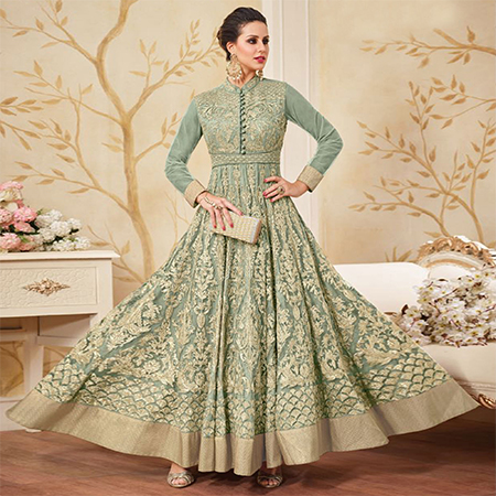 Attractive Turquoise Green Colored Partywear Embroidered Net Anarkali Suit