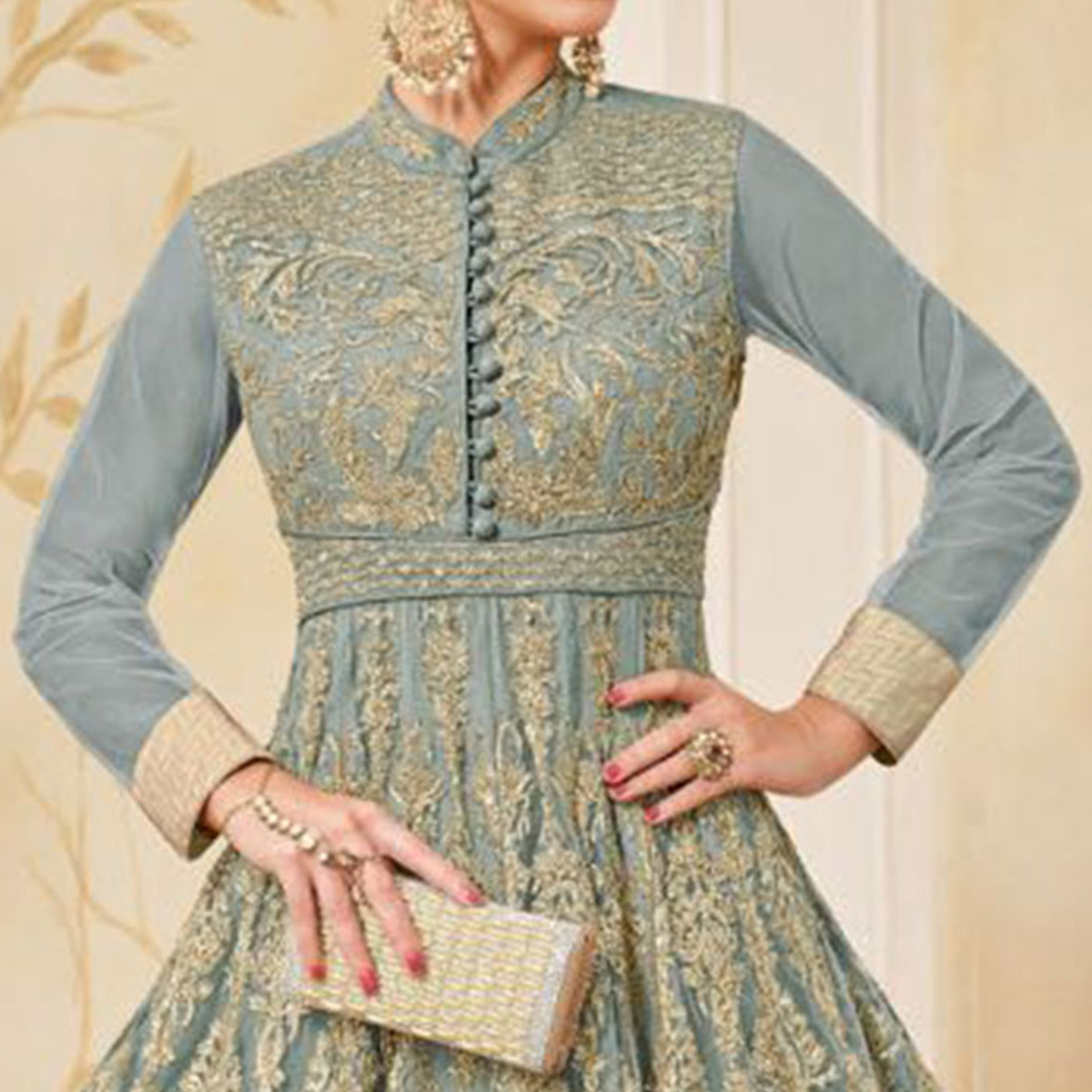 Arresting Gray Colored Partywear Embroidered Net Anarkali Suit