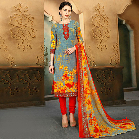 Grey - Red Colored Casual Wear Printed Cotton Suit