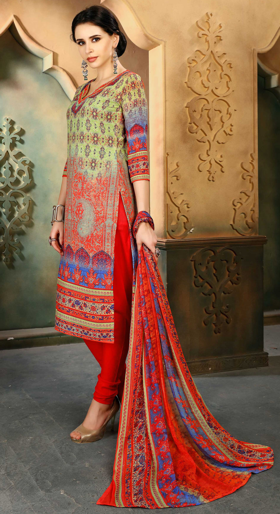 Multi - Red Colored Casual Wear Printed Cotton Suit