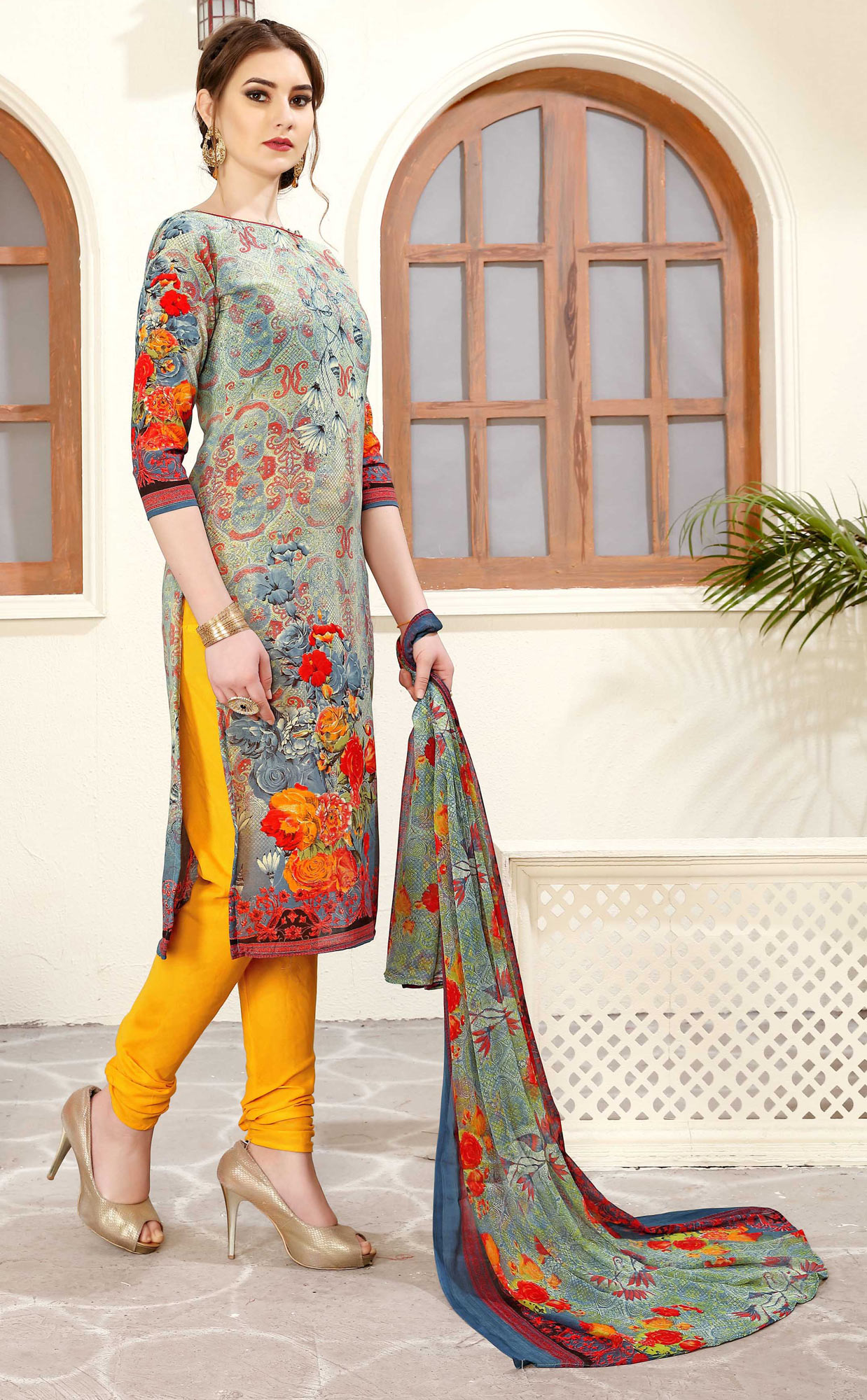 Multi - Yellow Colored Casual Wear Printed Cotton Suit