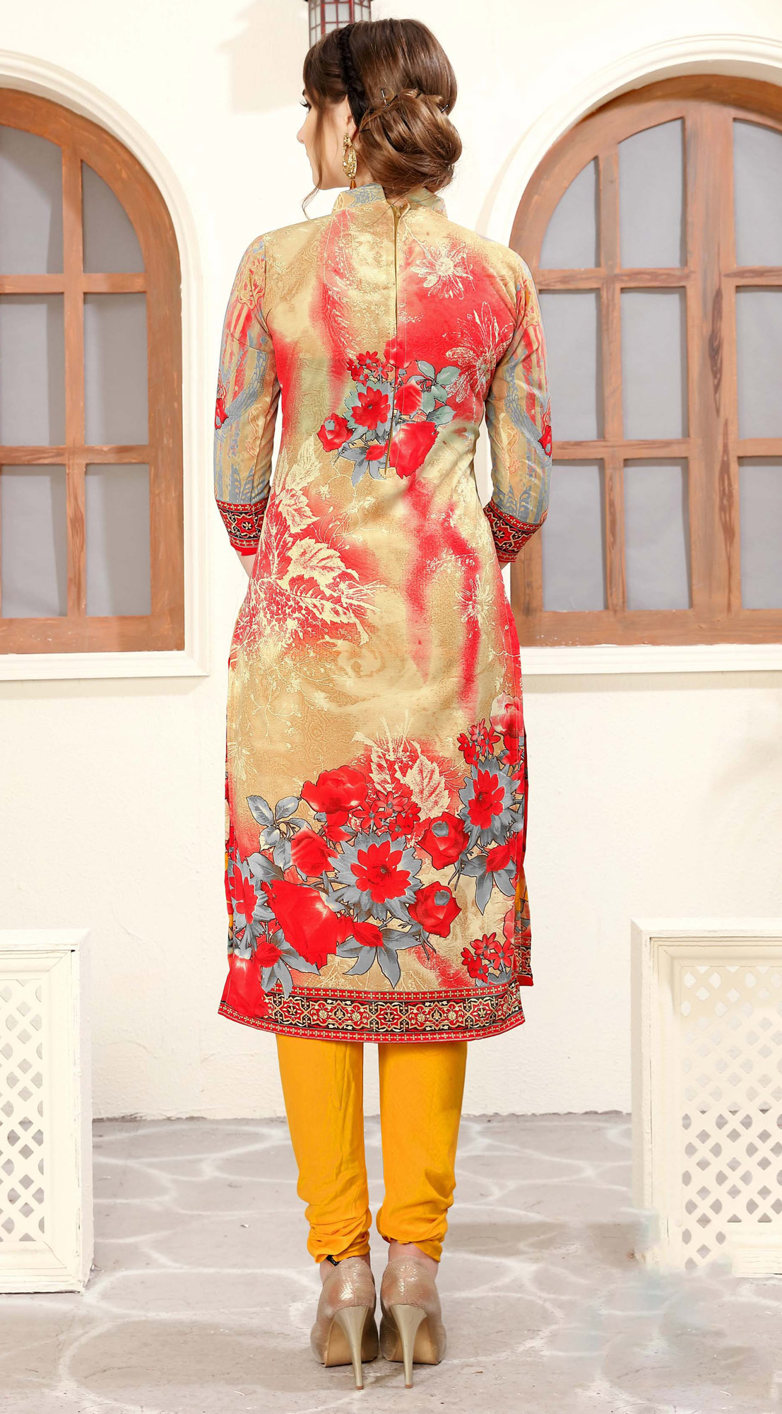 Beige & Red Colored Casual Wear Printed Cotton Suit