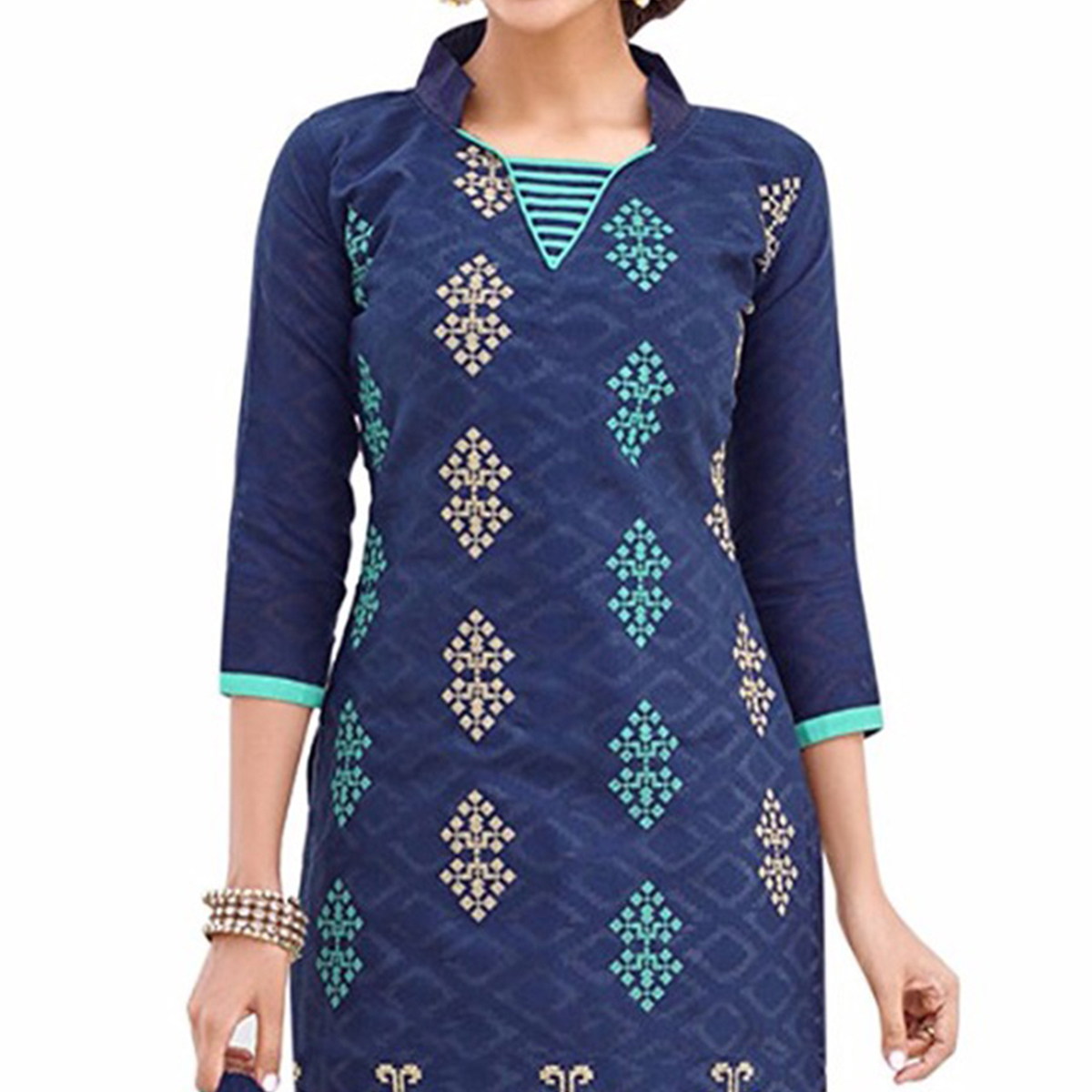 Gorgeous Blue And Green Lakda Jacquard Embroidered Dress Material