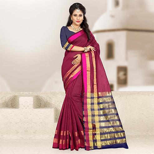Charming Magenta Colored Festive Wear Woven Cotton Silk Saree