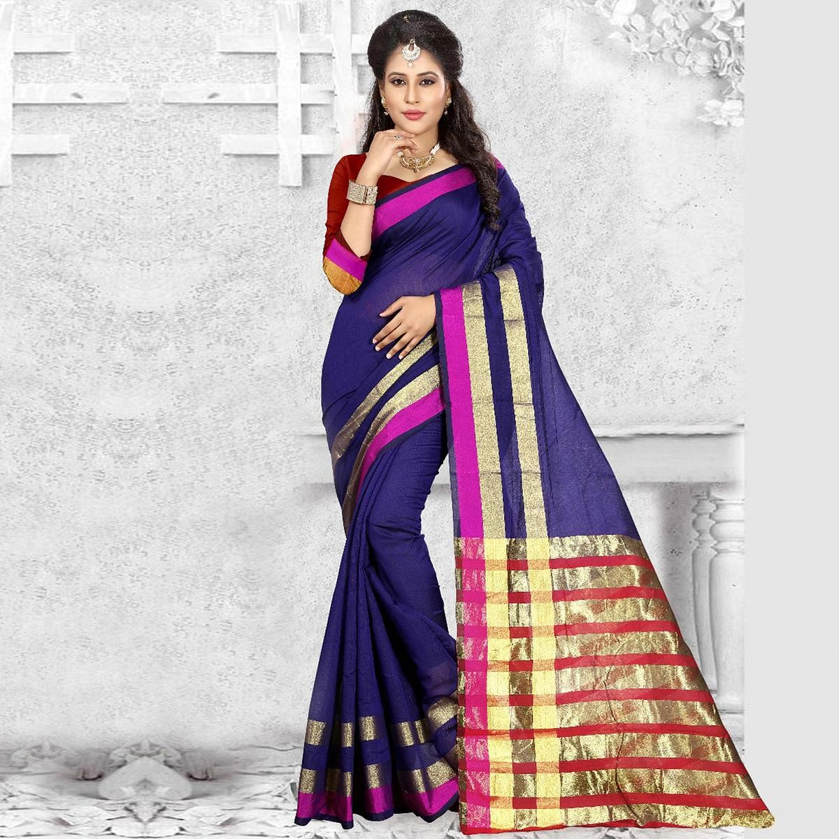 Ravishing Blue Colored Festive Wear Woven Cotton Silk Saree