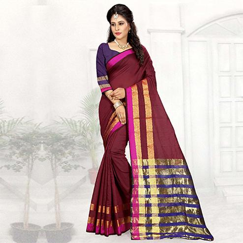 Stunning Maroon Colored Festive Wear Woven Cotton Silk Saree