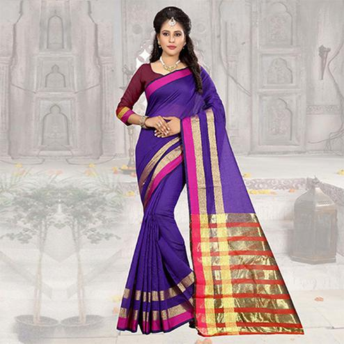 Blooming Purple Colored Festive Wear Woven Cotton Silk Saree
