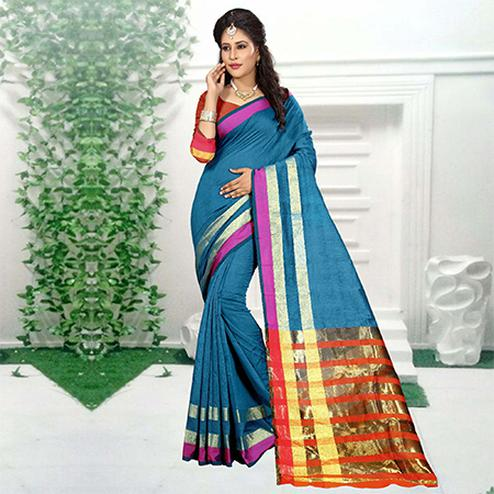 Marvellous Firozi Colored Festive Wear Woven Cotton Silk Saree