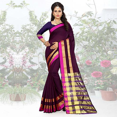 Mesmerising Brown Colored Festive Wear Woven Cotton Silk Saree