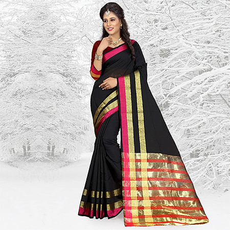 Ravishing Black Colored Festive Wear Woven Cotton Silk Saree