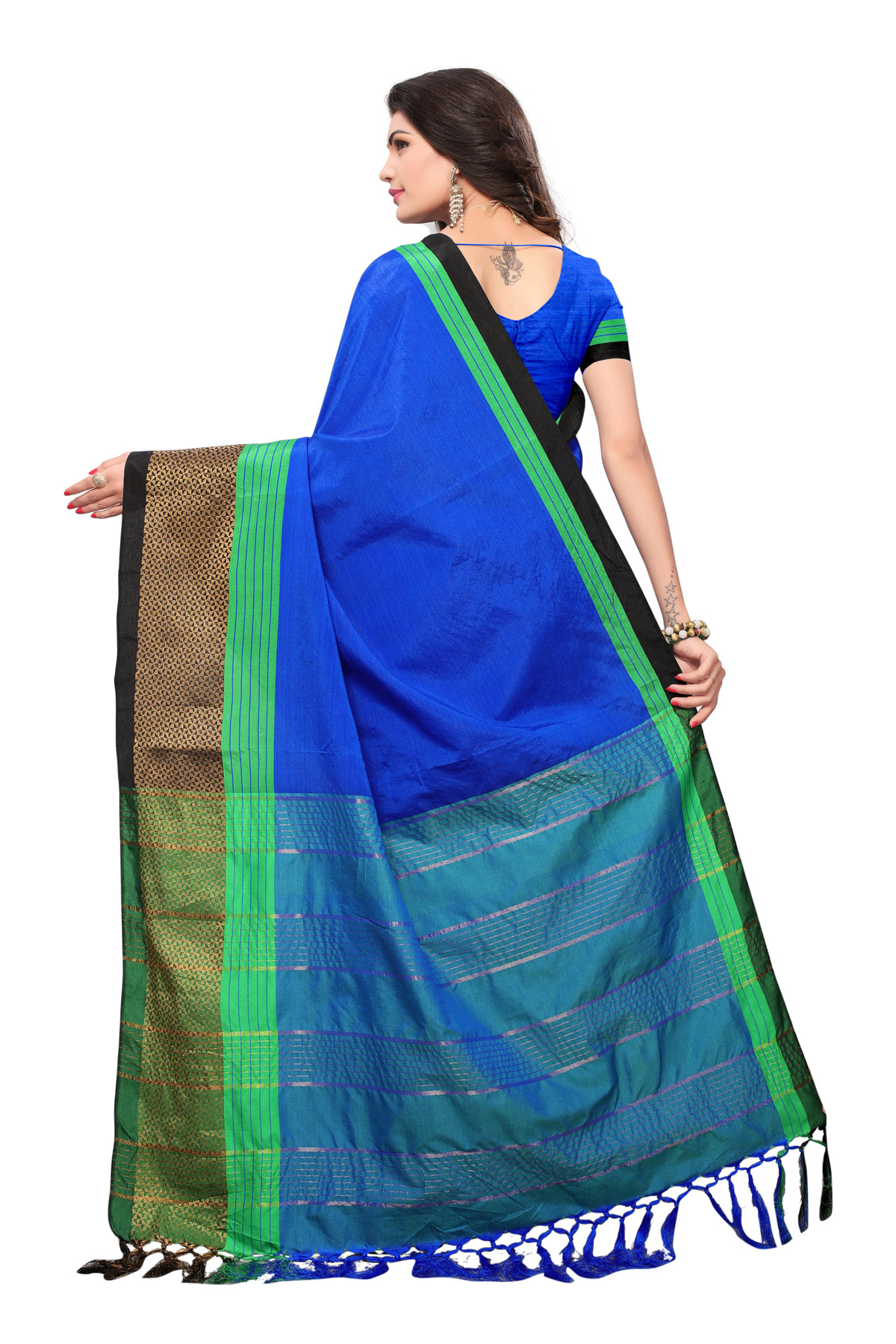 Glowing Blue Colored Casual Wear Woven Cotton Silk Saree