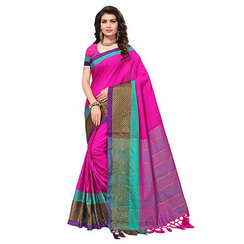 Pretty Rani Pink Colored Casual Wear Woven Cotton Silk Saree