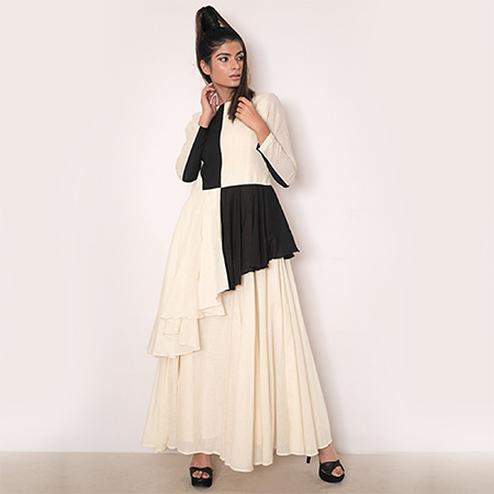 Hypnotic Black-White Colored Partywear Fancy Rayon Kurti