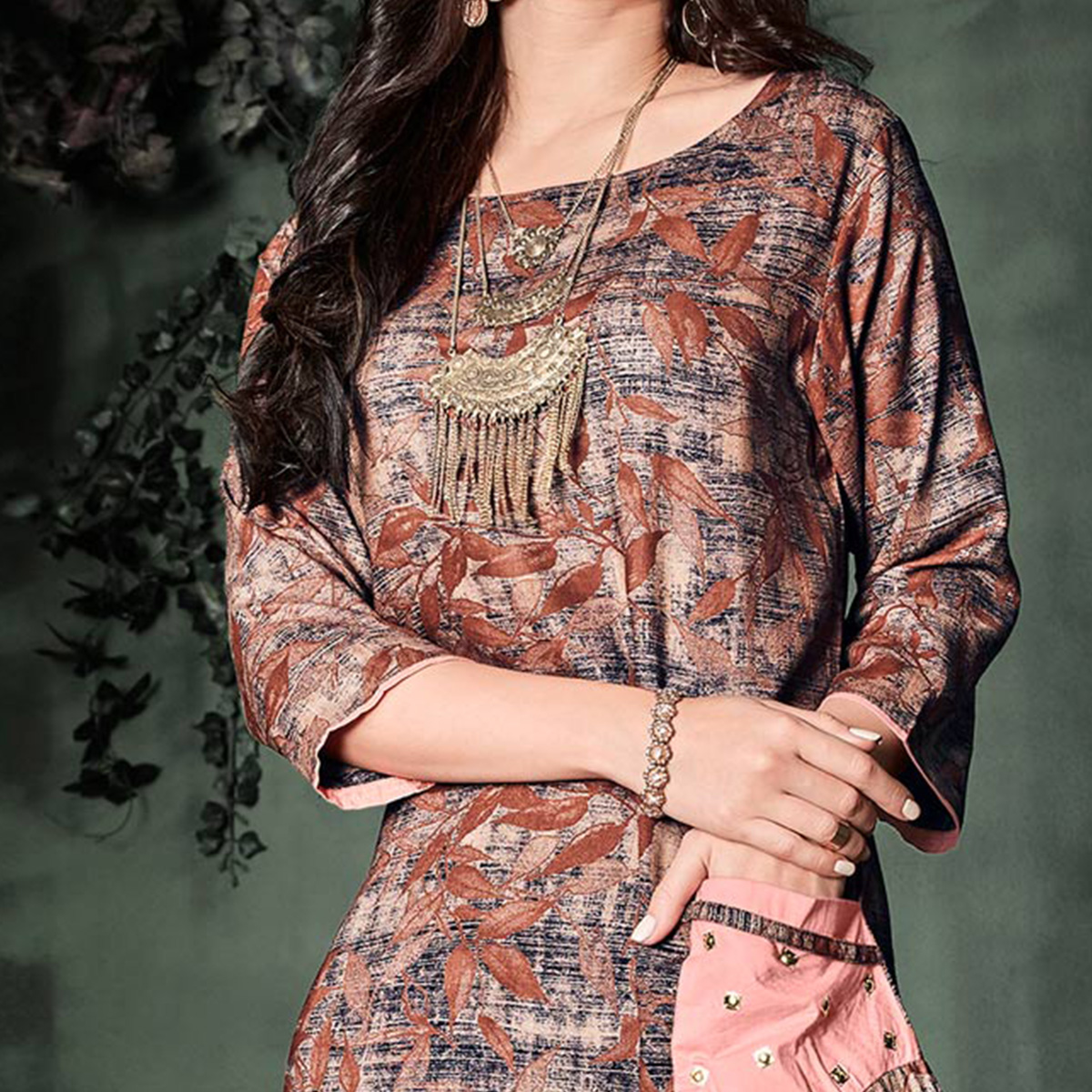 Glorious Brown Colored Designer Party Wear Rayon Kurti
