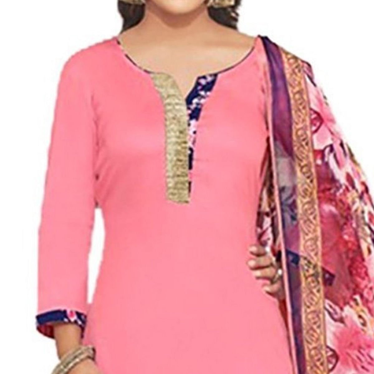 Elegant Pink And Blue Cotton Dress Material With Matching Dupatta