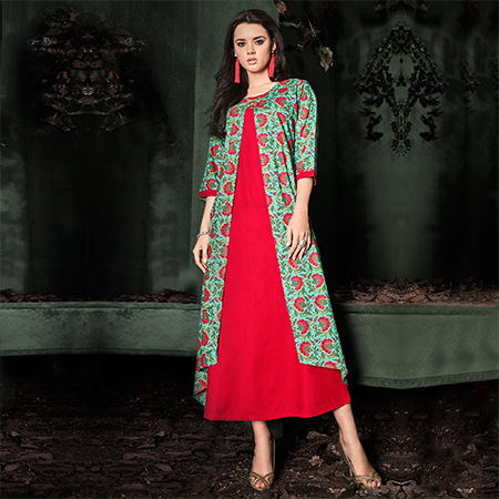 Delightful Red-Rama Green Colored Designer Party Wear Rayon Kurti