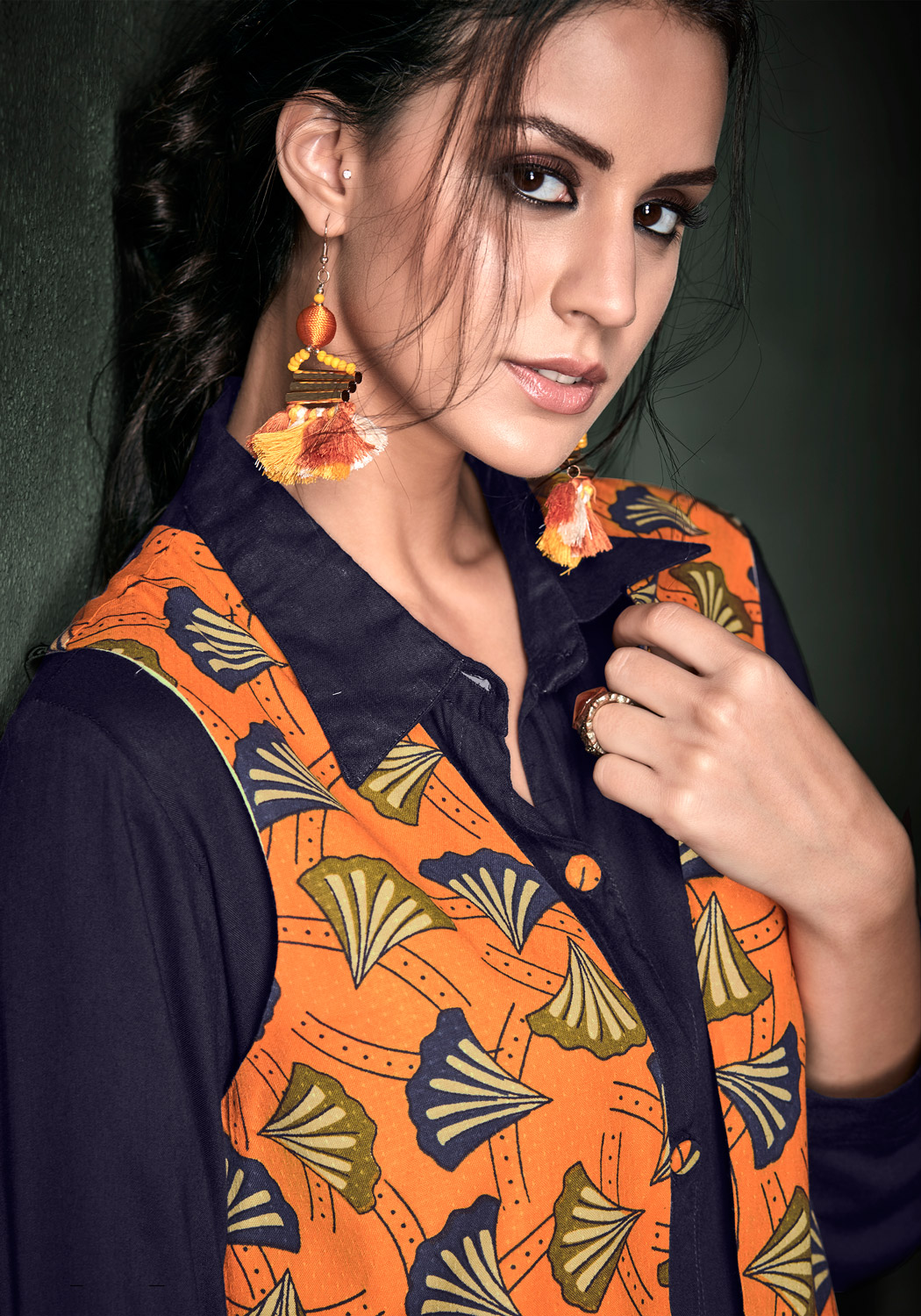 Opulent Navy Blue Colored Designer Party Wear Rayon Kurti