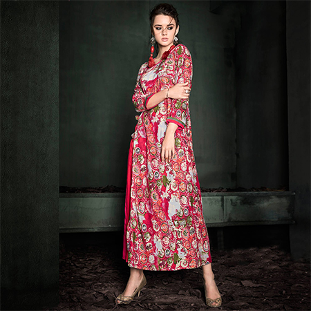 Exceptional Pink Colored Designer Party Wear Rayon Kurti