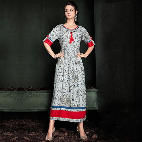 Fantastic Grey Colored Designer Party Wear Rayon Kurti