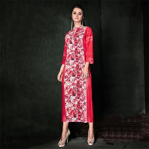 Imposing Red Colored Designer Party Wear Rayon Kurti