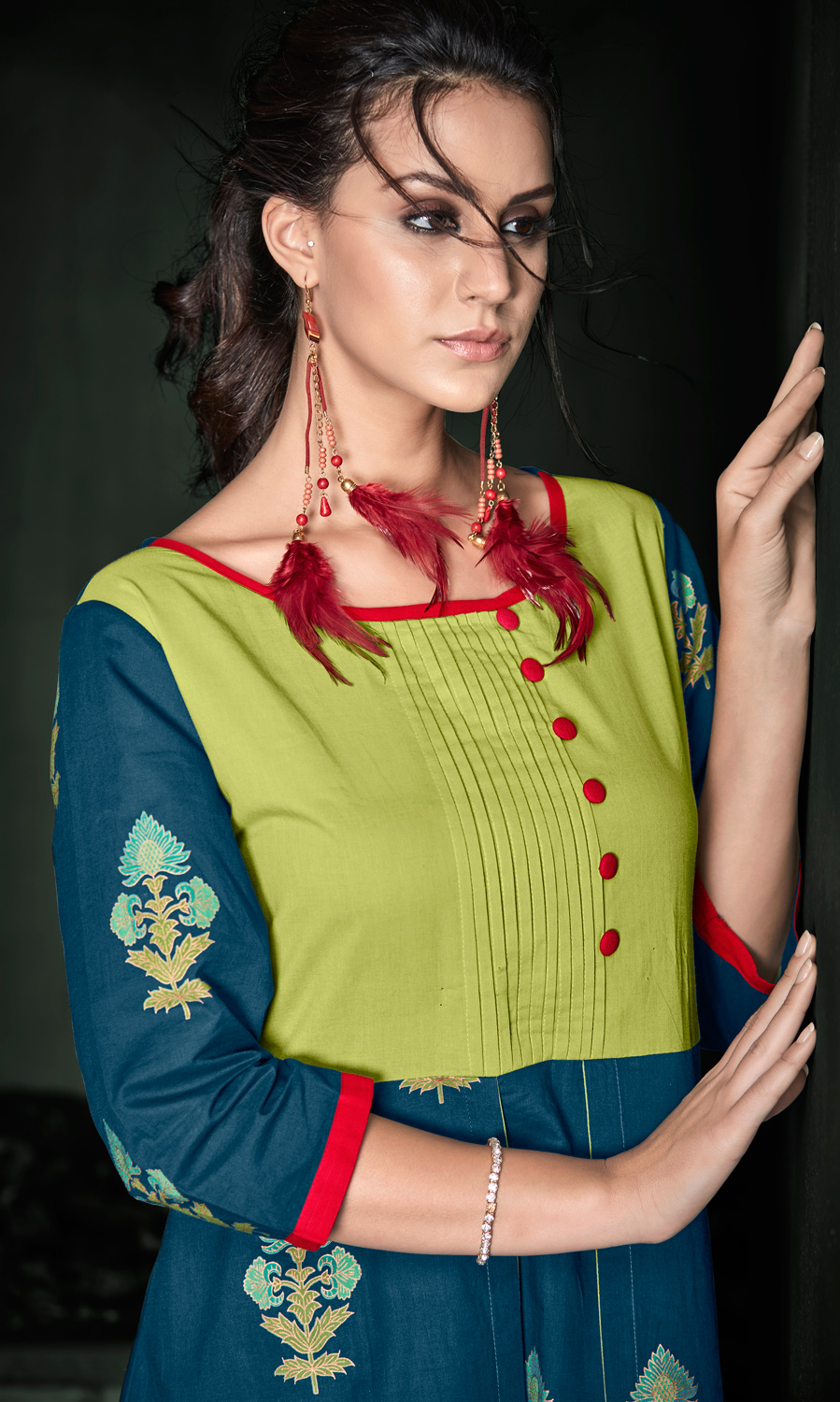 Deserving Pear Green-Blue Colored Designer Party Wear Rayon Kurti