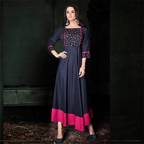 Capricious Navy Blue Colored Designer Party Wear Rayon Kurti