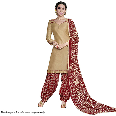Gorgeous Golden And Maroon Cotton Dress Material With Matching Dupatta