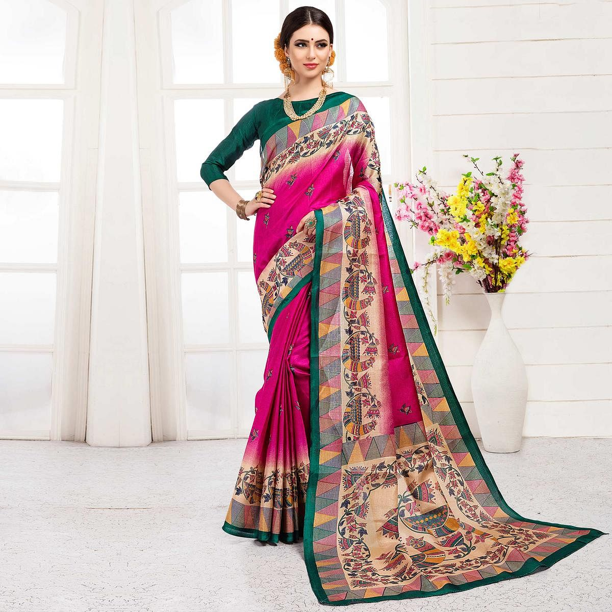 Attractive Rani Pink Colored Festive Wear Khadi Silk Saree